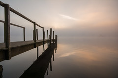 Derwent water sunrise (99damo) Tags: lakedistrict water lake hawesend cumbria cold derwentwater keswick fells jetty mist cloud inversion
