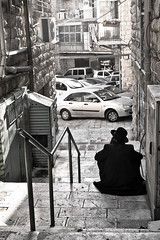 Alley Meditation (tatzlum.photo) Tags: stairs alley jew black white monochrome eretz yisroel israel jerusalem steps chassid machane yehuda contemplation jewish passage meditation blackandwhite eretzyisroel machaneyehuda
