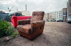 Wrocaw, Poland. (wojszyca) Tags: contax g2 zeiss biogon 21mm fuji fujicolor c200 city urban urbex decay armchair wrocaw urbanlandscape wideopen