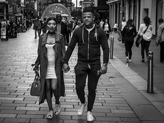 Designer Couple (Leanne Boulton) Tags: urban street candid portrait streetphotography candidstreetphotography streetlife man male woman female boy girl face faces facial expression eyecontact candideyecontact style stylish makeup fashion labels designer tattoo tracksuit tone texture detail depth natural outdoor light shade shadow city scene human life living humanity society people culture canon 7d consumerism black white blackwhite bw mono blackandwhite glasgow scotland uk
