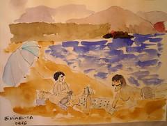 MENORCA. BINIMEL-LA.09-16.Grupo en un externo.3 (joseluisgildela) Tags: menorca samesquida playas islasbaleares carnetsdeviaje acuarelas sketch