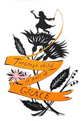 tuesday's child papercutting (jenny lee fowler) Tags: orange baby black bird art girl garden paper banner ribbon tuesdayschild papercutting jennyleefowler