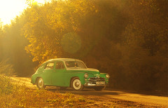 Orange mood (fireflite59) Tags: auto autumn sunset car russia gaz soviet omsk pobeda  strobist   retro55ru