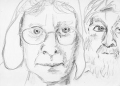 Julia & Pat (Gila Mosaics n'stuff) Tags: portrait art pencil sketch artist duo portraitparty jkpp portraitofjuliakay jkpp2012