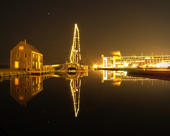 Golden Reflections (StirlingCreative.com) Tags: ocean christmas longexposure water night reflections stars lights harbor december maritime boating salem nightsky tallship slowexposure salemmassachusetts salemma starscape derbywharf salemmaritime firiendship