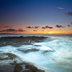 Sunset Flight (PeterYoung1.) Tags: uk longexposure sunset sea seascape nature beautiful clouds landscape scotland rocks scenic troon