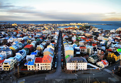 Reykjavik, Iceland, from the Hallgrímskirkja Tower (` Toshio ') Tags: city roof winter mountain snow water buildings bay iceland colorful europe european cityscape reykjavik hallgrímskirkja icelandic tiltshift toshio smokybay