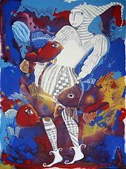 Blue eye angel (dyuminart) Tags: original abstract art wall modern pen ink painting artwork artist acrylic paintings pop canvas popart artists figurative artworks dyuminart