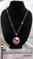 Raspberry Sunrise Necklace (Peppermint Creek Jewelry) Tags: charity flower agate rock stone creek sunrise silver circle necklace women artist sweet her artsy gift giving trendy raspberry stripped pendant peppermint banded trafficking
