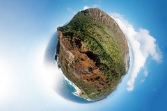 Living on the Edge (ygchan) Tags: ocean sky panorama sun selfportrait beach me hawaii shadows pacific oahu sandy hike ridge trail projection crater polar rim botanicalgardens kokohead cindercone stereographic kalanianaole