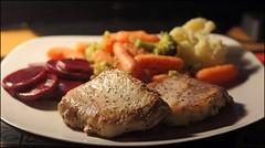 Yes, It Was Very Good (Sue90ca A Warm Weekend Ahead?) Tags: food canon 50mm yum plate pork veggies 18 60d 15challengeswinner