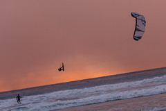 Kite Surfers at Seaside (dcis_steve) Tags: sunset kite beach cardiff surfing
