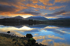 Loch Garry. (Gordie Broon.) Tags: morning trees winter mountains nature water clouds sunrise reflections landscape geotagged photography scotland scenery december alba scenic escocia explore schottland glengarry ecosse lochgarry invernessshire snowcappedmountains scottishhighlands invergarry canoneos7d bestcapturesaoi gordiebroon elitegalleryaoi