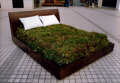 Rest     Bed, Lawn, Mixed media.     Installation     190 X 250 X 100 (cm)  75 X 98 X 39 (inch)