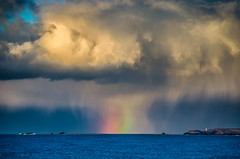 Iridescent (intrazome) Tags: winter wild england cloud color colour nature beautiful rain weather hail clouds landscape rainbow nikon cornwall day teal january cloudscape d5100