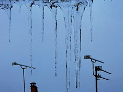 Icicles and Arials (john atte kiln) Tags: blue hanging translucent transparent pointing icicles stalactites blueblack arials chimneytop tvarials