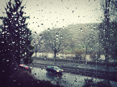 Raindrops (freyavev) Tags: window wet water car rain river germany deutschland stuttgart traintracks raindrops kapi neckar kisa
