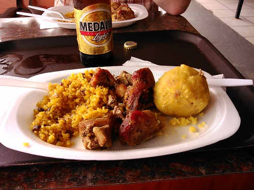 Lunch after Camuy Cave  Arroz giallo, lechon and mofongo filled with chicharrones