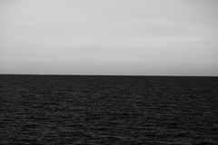 where the sea meets the sky (HellaTheViking) Tags: sea sky horizon barcelona badalona spain black white waves dream daylight daydream water summer sunset