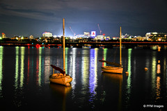 Boston Night Sky (pandt) Tags: boston massachusetts boats water reflection skyline nighttime night long exposure hdr canon eos 7d sailboat flickr citgo sign charles river