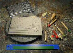 Work in progress... (Dave Whatt) Tags: linoprinting linocut bench tools design art printmaking print workinprogress