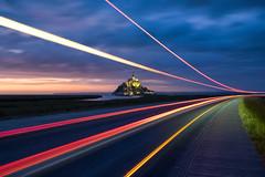 Mont Saint Michel light trails (Patrice Vallet) Tags: sky landscape sea sunset travel night light clouds ocean road france longexposure bluehour normandy normandie montsaintmichel