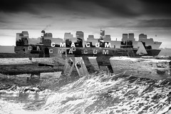 Ubiquitous_v (Jonny Bell) Tags: jonnybell icm multipleexposures blur painterly shipping sea pier felixstowe suffolk