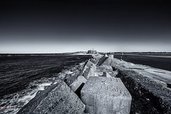 Nobbys Head. (Bill Thoo) Tags: nobbyshead newcastle nsw australia pacificocean ocean pacific breakwater harbour seascape landscape travel lighthouse beach coast monochrome blackandwhite sony a7rii samyang 14mm ngc