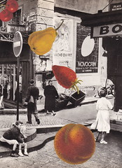 Unexplained Mysteries #156: Giant Fruit Free Fall, Paris 1962 (Angie Naron) Tags: art collage collagebyangienaron thekollagekit wwwkollagekitblogspotcom fruit pear peach strawberry cherries paris parisstreet paris1962 surreal surrealism