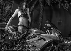 claire mc-40 (Trevor Matthews Photography) Tags: claire mcivor bike rock chick guitar motorbike suzuki daytona sexy girl hot naked nude topless trevor matthews suggestive speaker ibiza bar wigan model