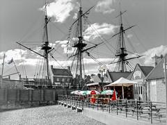 Jackson's wharf... (ocean rain) Tags: jacksonswharfhartlepooluk pointshoot hdrtonemapping pickmonkey nikon hartlepoolhistoricquay gimp selectivecolour sky masts sails clouds