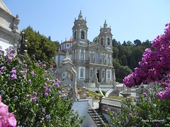 Santuário do Bom Jesus do Monte. Sanctuary of the Bom Jesus do Monte. (Paula Luckhurst) Tags: santuáriodobomjesusdomonte sanctuaryofbomjesusdomonte churches catholic igrejacatólica catholicchurch braga portugal flowers outdoor bougainvilleas gardens