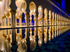Remembrance .. (Almsaeed) Tags: remembrance abudhabi mosque lights reflection gradual blue domes dubai uaephotography lines column gold touch yellow colorful moment zayed grand