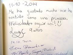 """""""Me ha gustado mucho me he sentido como una princesa. Felicidades, seguid as!"""" Luz 9 aos 11/10/2014 (Museo del Romanticismo) Tags: museo del romanticismo siglo xix firmas libro de visitas pblico"""