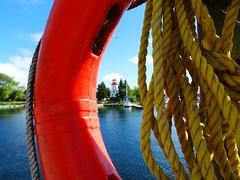Hello from Toronto! (peggyhr) Tags: peggyhr lifesaver red ropes lighthouse marina boats trees dsc02097a humberbay lakeontario toronto ontario canada thegalaxy 30faves~ super~sixbronzestage1