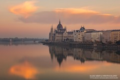 Budapest Mirror (Mark Mervai Photography) Tags: hungary sunrise lights street reflection nature sun sky cloud urban photography danube river water clear spring summer weather beauty beautiful city europe poster function prospekt amazing burn awesome tags facebook time morning early