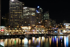 Darling Harbour (lukedrich_photography) Tags: australia oz commonwealth        newsouthwales nsw canon t6i canont6i history culture sydney       metro city vivid night light dark longexposure darling harbour cbd centralbusinessdistrict longcove pyrmont bridge architecture building skyrise view skyline cityscape overlook promenade wharf pier boat water transport ship tourist cocklebay tumbalong marina