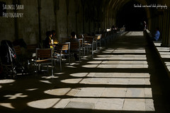 Coffee In The Cloisters (Saumil U. Shah) Tags: saumil shah saumilshah therealsaumil spectrallines uk england britain salisbury cathedral cloisters shadow light contrast lines