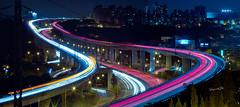 下班了 (lgf55555(基福)) Tags: 霓虹 車軌 晚上 車流 夜 高架橋 浪漫