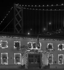 chistmas firehouse (pbo31) Tags: sanfrancisco california christmas city bridge urban blackandwhite bw panorama black northerncalifornia night dark lights lowlight nikon holidays december large baybridge bayarea sffd firestation firehouse 80 stitched 2012 d700