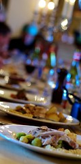A christmas party (Tobias von der Haar) Tags: food lunch restaurant bokeh plate christmasparty sprouts officeparty roastturkey