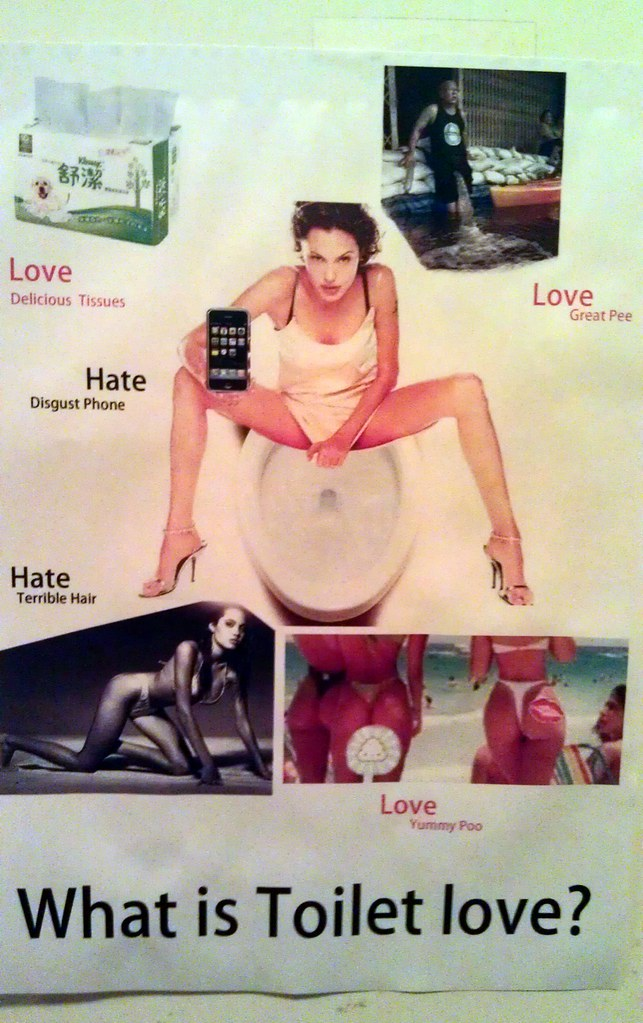 What is Toilet love? Love: Delicious Tissues Love: Great Pee Hate: Disgust Phone Hate: Terrible Hair Love: Yummy Poo