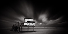 St. Peter-Ording VII (MichelleWhy - Stefanie Loges) Tags: sea sky bw white seascape black beach clouds strand reflections meer long exposure dlrg himmel wolken lifeguard nd nordsee weiss schwarz stefanie langzeitbelichtung wasserwacht stpeterording loges