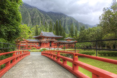 Byodo-In Temple (cstout21) Tags: park travel bridge chris trees red vacation plants usa green clouds garden landscape temple hawaii us colorful pretty unitedstates oahu peaceful landmark pacificocean honolulu buddist aloha hdr highdynamicrange stout byodointemple ngoc canon60d stoutandstout northamera