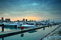 marina mall yachts with sunset (mohamed al-nasser) Tags: sunset boats kuwait marinamall   alnasser