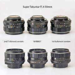 3 versions of Super Takumar f1.4/50mm ?! (kuuan) Tags: 50mm takumar f14 14 super 50 versions supertakumar 8element supertakumarf1450mm