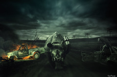 Days after End (Noro8) Tags: road sky photomanipulation photoshop fire scenery mood sad post smoke domination apocalypse atmosphere days rhino processing brushes end after vulture wreck respirator noro8