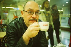 lc-a+ - dad enjoys a wimpy cuppa (johnnytakespictures) Tags: nottingham portrait man hot film cup pose beard restaurant glasses lomo lca lomography dad tea drink father fastfood posing lomolca mug analogue coffe spectacles wimpy cuppa broadmarsh cn800