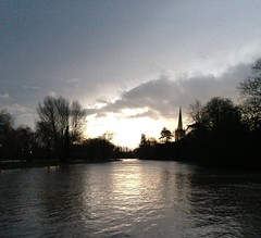 Sunset on the Avon towards Holy Trinity (verdelite) Tags: winter sunset river view holy trinity avon guardian 5252 52weeks twitter 522012