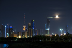 Kuwait City View (Cajie) Tags: city night nikon moonrise kuwait d800